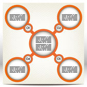 Presentation template with five large, orange circles linked together — Stock Vector