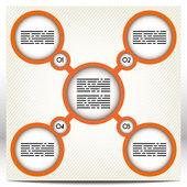 Modèle de présentation avec cinq cercles gros, orange, reliés entre eux — Vecteur