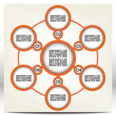 Presentation template with seven large, orange circles linked together — Stock Vector