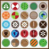 красочные щиты с различными символами — Cтоковый вектор