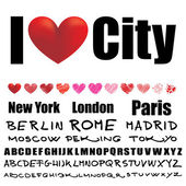 I love text with hearts and city names — Stock Vector