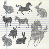 Hand drawn animal collection — Stockvektor