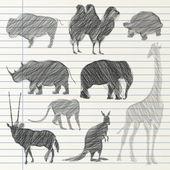 Hand drawn animal collection — Stok Vektör