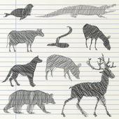 Hand drawn animal collection — Stock vektor