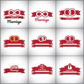 Badges related to marriage and love — Stockvector