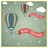 复古圣诞和新年快乐卡。矢量插画 — 图库矢量图片