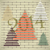 Christmas trees on an old brick wall. — Vector de stock