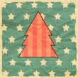 Christmas tree on retro background. — Stockvektor