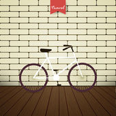 Illustration bicycle over brick wall — Stock Vector