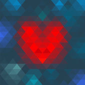 Vector Geometric Mosaic Heart for Valentines Day Design — Stock Vector