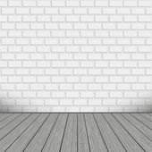 Bricks wall with wooden floor — Stock Vector