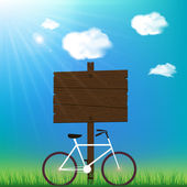 Sunny day background with bicycle and space for your text. — Vetorial Stock