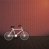 City bicycle and red brick wall. — Stock Vector