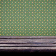 Background with old wooden table and vintage wallpaper — Stock Photo