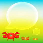 Summer background with crabs and cloud — Stock Vector