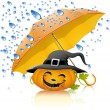 Stock Vector: Pumpkin under yellow umbrella