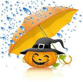Pumpkin under a yellow umbrella — Stock Vector