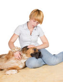 Loving woman with her dog — Stock Photo