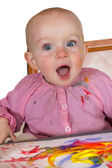 Excited baby girl painter — Stock Photo