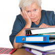 Exhausted senior lady with paperwork - Stok fotoğraf