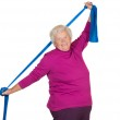 Happy overweight senior exercising — Stock Photo #24566067