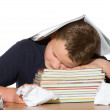 Tired out by studying for exams — Stock Photo