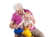Grandmother playing with her grandchild — Stock Photo