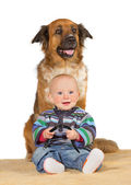 Little baby with trusted family dog — Stock Photo