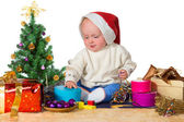 Baby in Santa hat for Christmas — Stock Photo