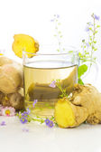 Fresh herbal tea with root ginger — Stock Photo
