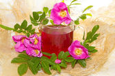 Herbal infusion of Rosa canina plant — Stock Photo