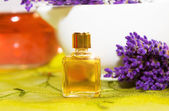 Perfume with blossoms of Lavender — Stock Photo