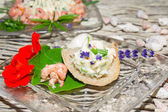 Herb butter and prawns with nasturtium — Stock Photo