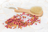 Bath salts and rose petal potpourri — Stock Photo