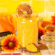 Beautiful orange bathroom accessory still life — Stock Photo