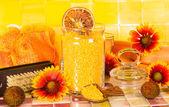 Beautiful orange bathroom accessory still life — Stock Photo