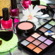 Colourful eye makeup with assorted cosmetics — Stock Photo