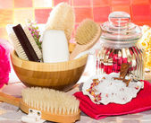 Spa treatment bathing accessories — Stock Photo
