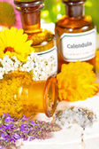Floral aromatherapy, essential oil and plant extracts — Stock Photo