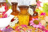 Aromatherapy still life with fresh flowers — Stock Photo
