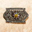 Stock Photo: Marcasite brooch with central gemstone