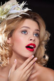 Portrait of a woman with red lips — Stock Photo