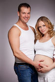 Pregnant wife and happy husband — Stock Photo