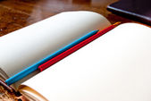 Blank notebook with pencils — Stock Photo