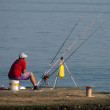 Stock Photo: Mis fishing on sea