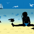 Little girl on the beach with a seagull — Stock Photo
