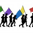 Running with flags - Stock Photo