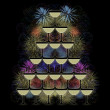 Stock Photo: Pyramid of champagne glasses on a firework background