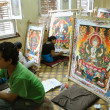 Students working in thangka painting school in Nepal — Stock Photo