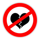Prohibition sign no broken hearts — Stock Photo